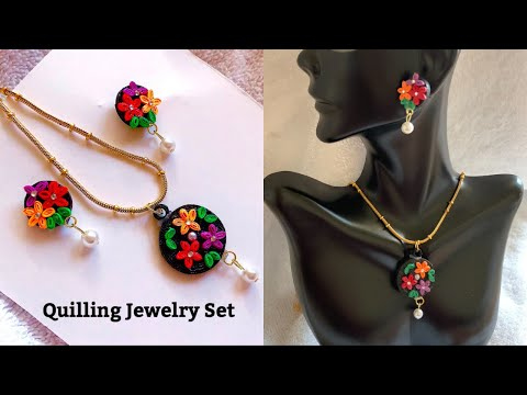 DIY Paper Quilling Jewelry Set||Making Simple Quilling Flower Jewlery Set||Paper Jewelry