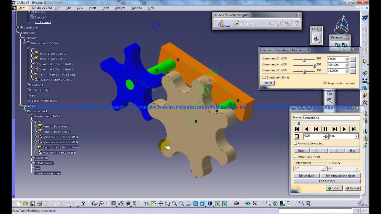 Catia V5 Digital Mockup Dmu Kinematics Gear Train