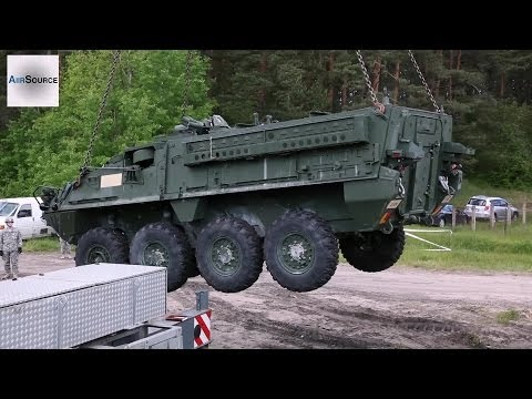 US Army Stryker Fighting Vehicle Offload. Latvia.