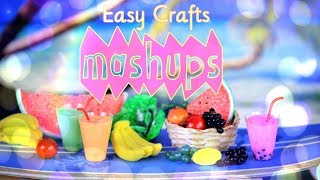 Mash Ups: EASY Doll Crafts - VOSS Water Bottles | No Sew Doll Dress | Smoothie & more