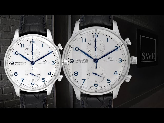 IWC Portuguese Chrono Silver Dial Blue Hands Steel Mens Watch IW371446 | SwissWatchExpo