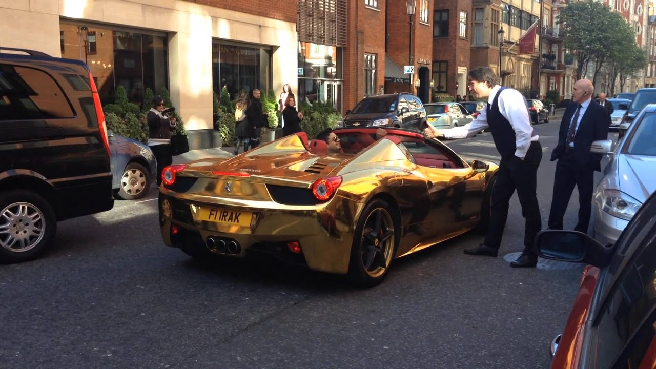 Gold Chrome Ferrari 458 Spider Wrapped In Gold London