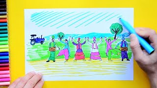 How to draw and color Baisakhi festival