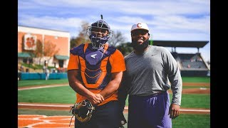 Clemson Football  Christian Wilkins amp Dexter Lawrence Throw Out the First Pitch