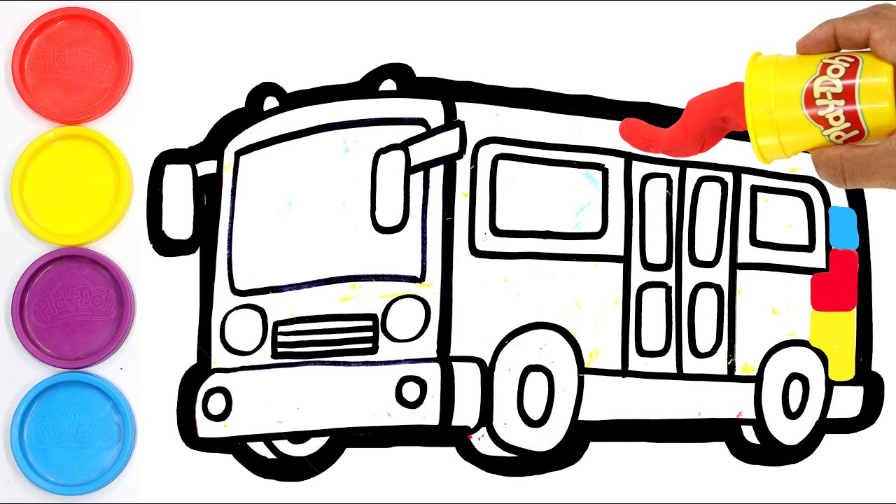 🔴 How to Draw a School BUS CAR  Painting for children Coloring and drawing with clay Play doh