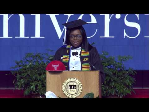 Mercedes Hall '17 speaks at Brandeis Commencement