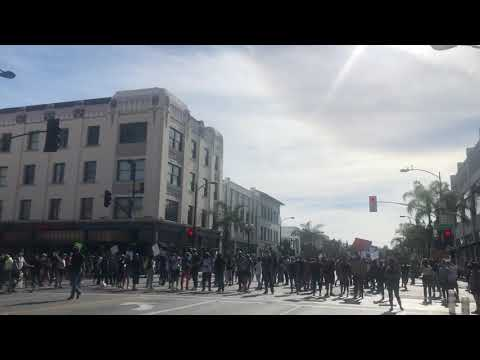 Peaceful demonstration Pasadena California for Floyd turns Wicked