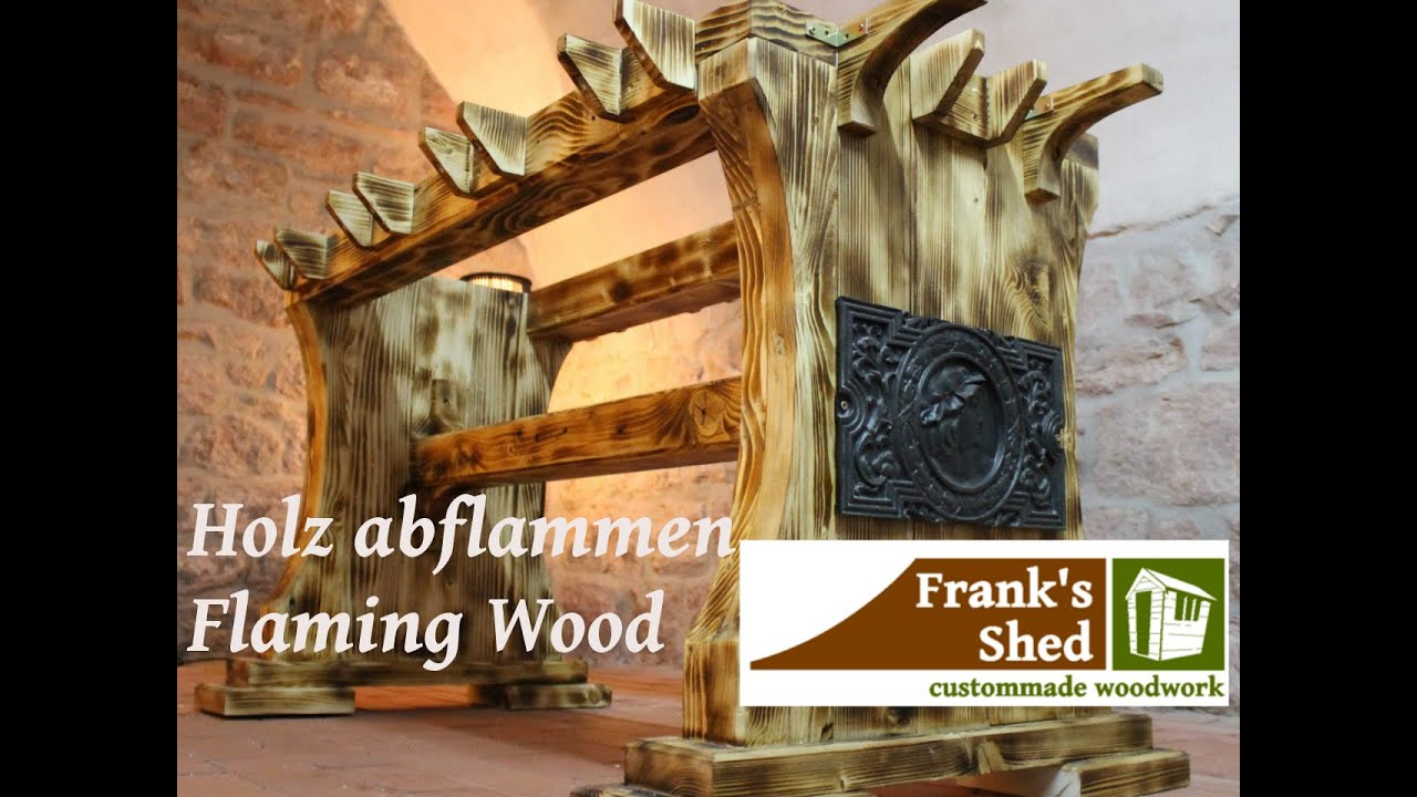holz altern lassen mit feuer aging wood fl mmen how to make wood look old franks shed. Black Bedroom Furniture Sets. Home Design Ideas