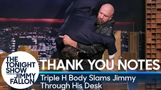 Thank You Notes: Triple H Body Slams Jimmy Through His Desk