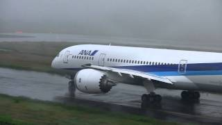 ANA 全日空 Boeing 787-8 Dreamliner N787EX foggy & rain Take off at Okayama