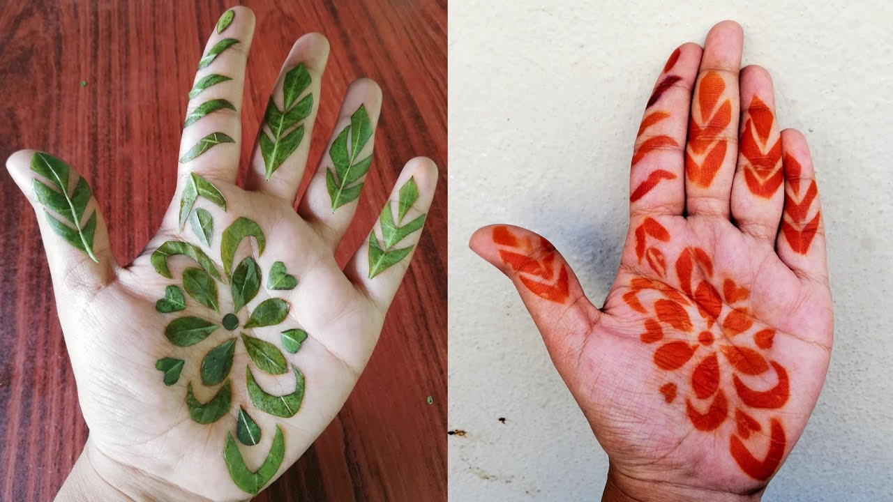 Henna Leaves Mehndi Design Using Volini Spray Simple Easy Mehndi