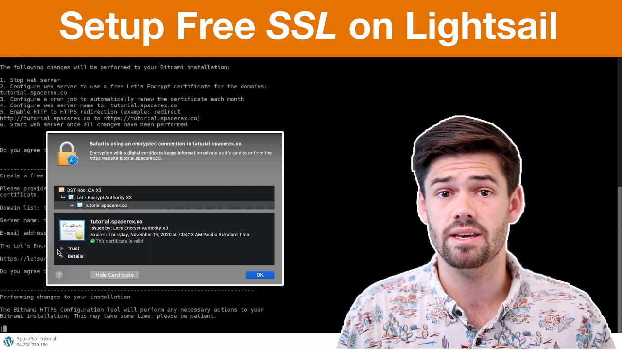 How to setup FREE SSL (HTTPS) Certificates on AWS Lightsail for WordPress | 4K TUTORIAL