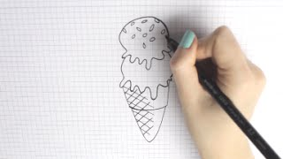 How to draw a Ice Cream | Eis malen | EASY & CUTE || Foxy Draws