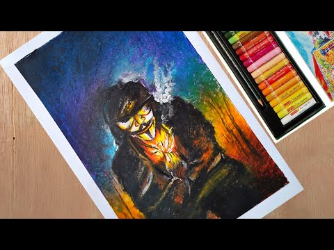 Hacker drawing in oil pastel/ easy landscape painting/ hacker drawing/ sunset and moonlight scenery