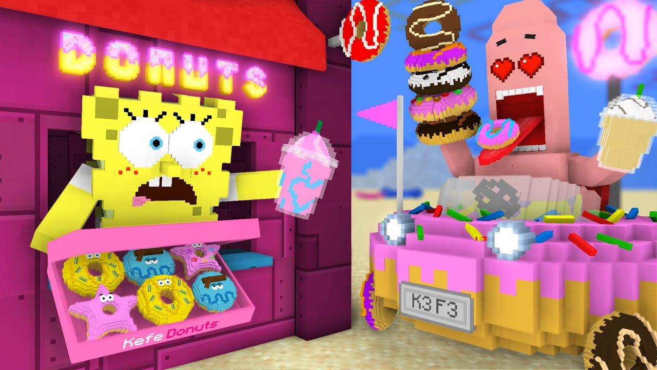 Monster School: Work at Spongebob's DONUTS PLACE! - Minecraft Animation