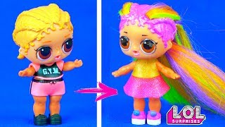 Новые радужные волосы для куклы ЛОЛ сюрприз! Трансформация в салоне красоты. Мультик LOL dolls