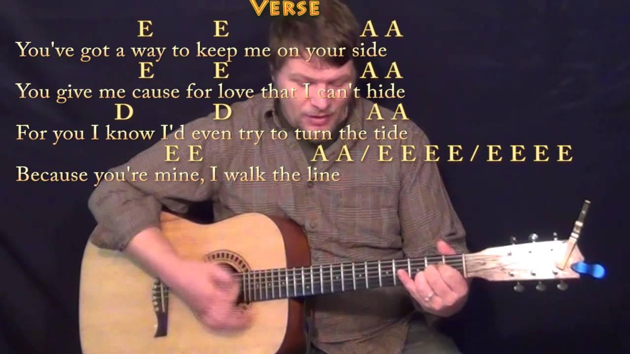 I Walk The Line Johnny Cash Strum Guitar Cover Lesson With Lyrics