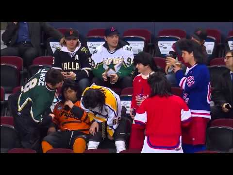 Fans from Calgary give a unique salute to Jaromir Jagr. 2/13/2013