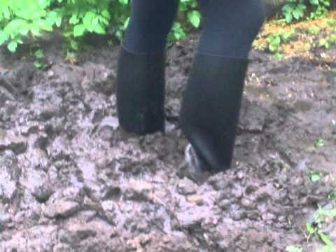 Rubber Ridding Boots In Mud 3gp Youtube