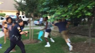 Raw Footage: Texas Cop Draws Gun on Pool-Party Teens(A Texas police officer has been suspended after this video surfaced of him violently forcing an African-American girl to the ground and drawing his gun on teens ..., 2015-06-08T21:38:36.000Z)