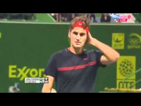 Roger Federer Vs Nikolay Davydenko - Doha 2012 - Match Highlights