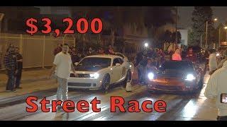 Challenger Hellcat Vs Boosted Corvette $3,200 Street Race