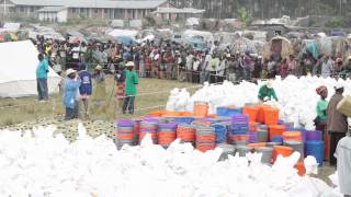 In the Democratic Republic of the Congo household kits rushed to displaced persons