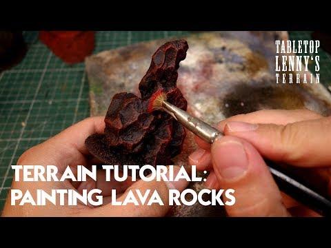 TERRAIN TUTORIAL: Painting Lava Rock Terrain  // #wargaming #tabletop #terrain