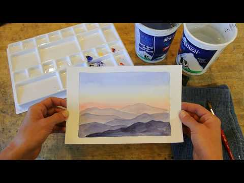 Beginning Watercolor Tutorial - Gradient Sunset Sky and Mountains