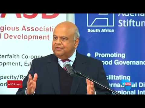 Pravin Gordhan gives his address during a Interfaith leaders meeting