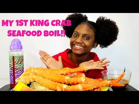 MY 1ST KING CRAB SEAFOOD BOIL MUKBANG! COME EAT WITH ME!!!!