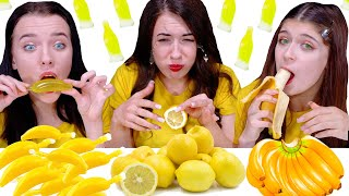 ASMR Eating Only One Color Food for 24 hours Challenge! Yellow Food By LiLiBu