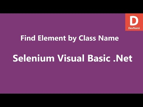 Selenium Visual Basic  Net Find Element by Class Name - YouTube
