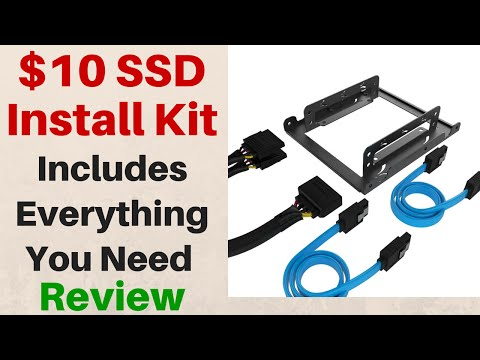 """$10 SSD Install Kit - 2.5"""" to 3.5"""" Drive Mounting Kit - SATA cables, drive screws, power adapter"""