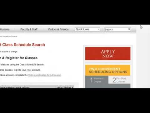 Demo of Class Search online (Valencia College Website)