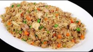 Amazing Chicken Fried Rice With Green Vegies and Fried Chicken