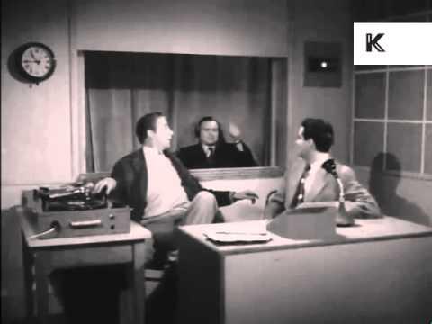 1950s UK Radio Station, Disk Jockey, DJ Plays Records