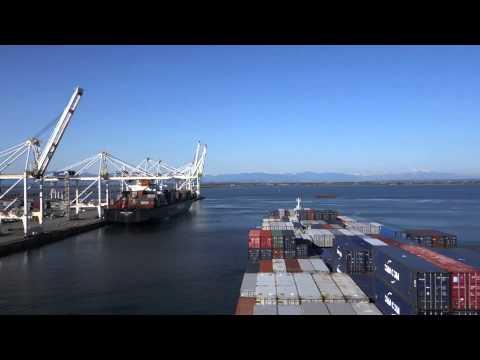 CMA CGM Dalila Leaving Deltaport, Roberts Bank Vancouver
