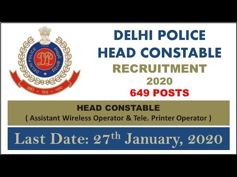 Image result for Delhi Police Recruitment 2020 – 649 posts of Head Constable Operator