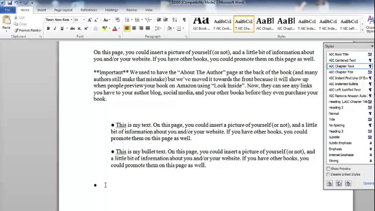 How To Insert Bullets Inside Your Kindle Book