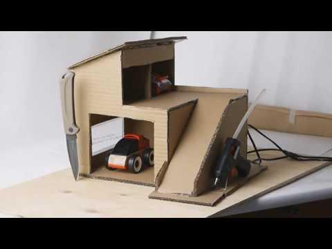Детская игрушка Гараж дом из картона своими руками