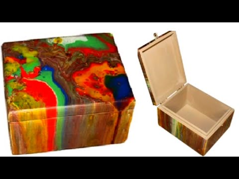Abstract art on a wooden cigar box