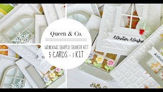 5 Cards - 1 Kit / Queen & Co. / New Windows Shaped Shaker Kit