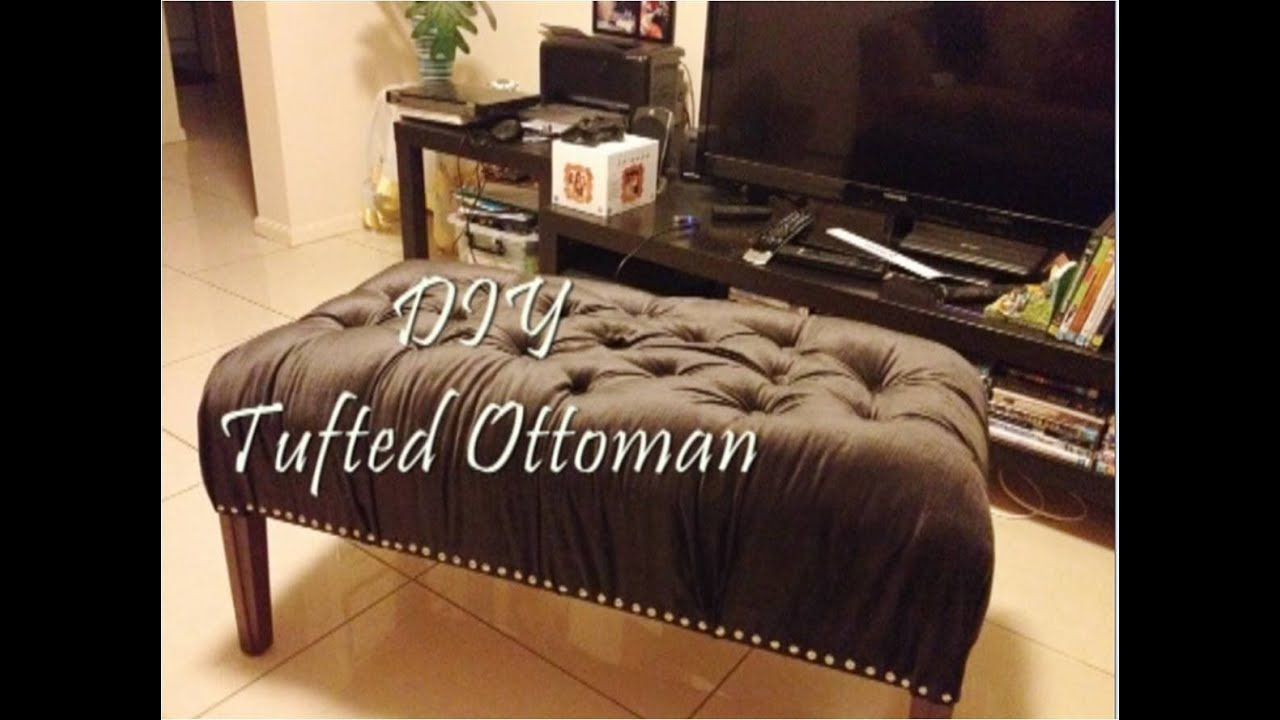 DIY Tufted Ottoman Bench   YouTube Part 96