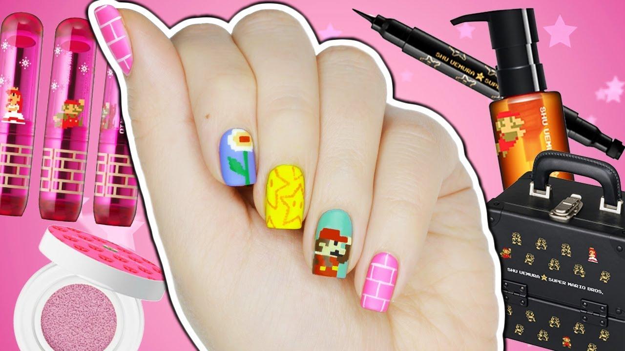 8-Bit Super Mario Nail Art + Makeup Collection! - YouTube