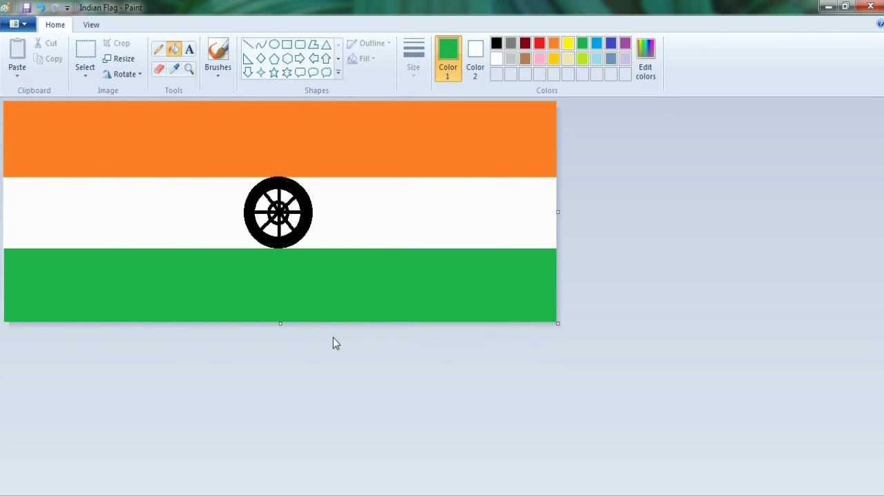 create indian flag image in ms paint youtube