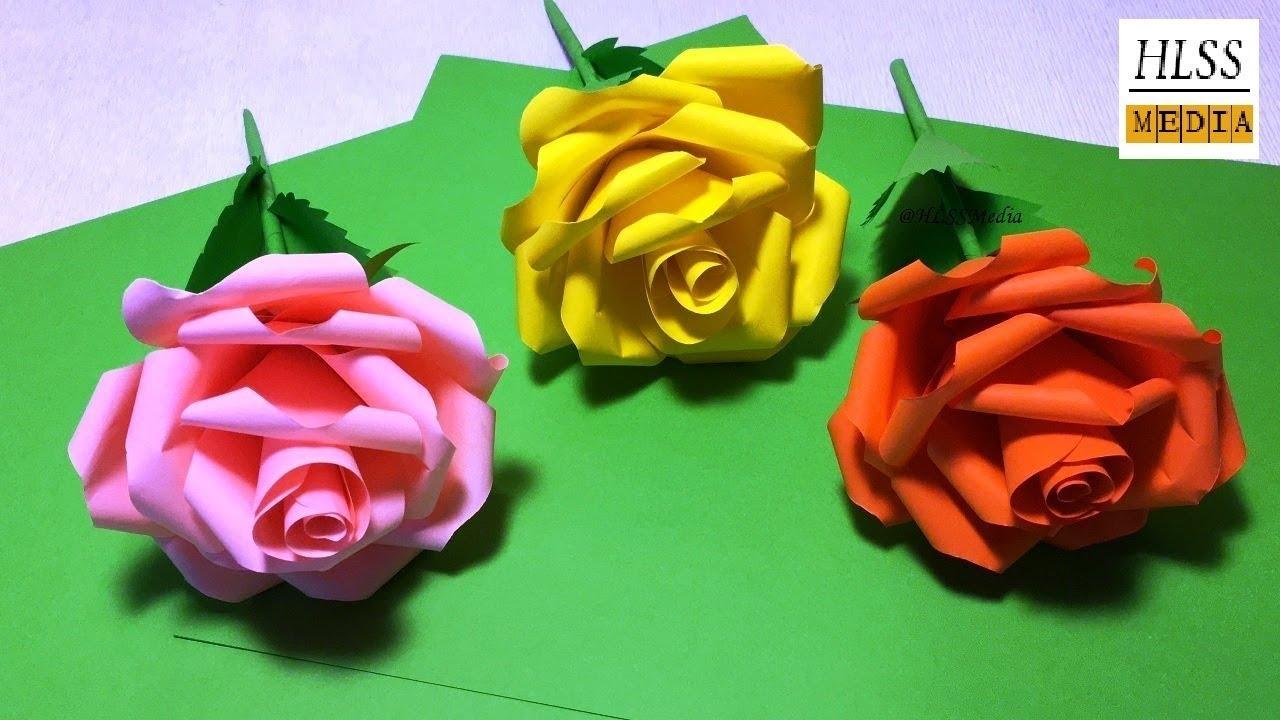 Diy Rose Paper Flower How To Make Rose Paper Flower Easy Youtube