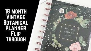 Vintage Botanical Deluxe- 18 Month Happy Planner Flipthrough