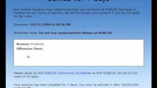 Roblox Getting banned for saying fk