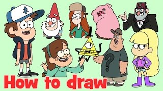 How to draw Dipper, Mabel, Wendy, Pacifica, Gnome, Bill Cipher, Soos, Stan and more